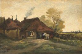 """""""Bauernkaten mit Pferdestall"""", Öl/Holz, undeutl. sign. u.l., 17x23 cm, Rahmen"""