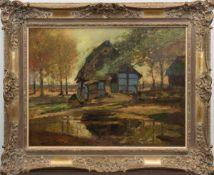 """Eicken, Elisabeth von (1862 Mühlheim-1940 Michendorf) """"Blauer Katen am Waldrand"""", Öl/Lw.,sign. u.r.,"""