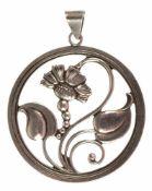 """Anhänger mit floralem Motiv, Silber 830er Silber, 13,5 g, Schweden, signiert """"RR"""", wohlHersteller-"""