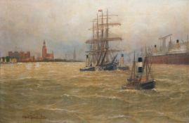 """Jensen, Alfred (1859 Randers-1935 Hamburg) """"Schlepper mit Viermaster im Hamburger Hafen"""",Öl/Lw.,"""