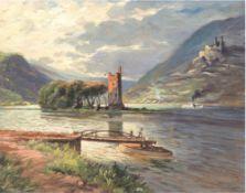 """Rüschhoff, Gustav (1886 Neuwied-1947 Neuwied) """"Binger Rheinlandschaft mit Mäuseturminsel"""",Öl/Hf.,"""