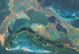 """Geistaute, Erna (1911 Riga-1975 Kopenhagen) """"Abstrakt in Grün und Blau"""", Öl/Mp., unsign.,verso"""