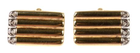 Paar Manschettenknöpfe, 585er WG/GG, rechteckige, gerippte Form mit je 4 eingelassenenkleinen