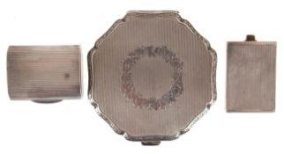 Puderdose, versilbert, Dm. 7 cm, Pillendose 925er Silber, gedellt, L. 4 cm und kl. Flakon(