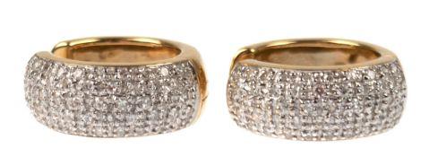 Paar Creolen, 585er GG, besetzt mit Brillanten von je 0,50 ct, Dm. 2 cm