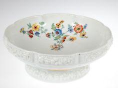 Aufsatz-Schale, Rosenthal, Maria, Modell von Ph. Rosenthal, polychromer Blumendekor, Fußund