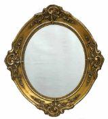 Spiegel, 19. Jh., Holz, vergoldet, ovale Form mit Stuckverzierungen, 55x49 cm