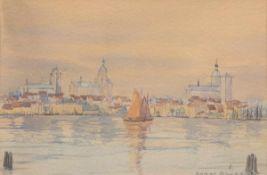 """Bauer, Horst (1885-1948/50) """"Blick auf Rostock"""", Aquarell, sign. u.r., 23,5x32 cm, imPassepartout"""