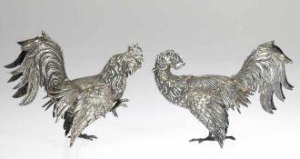 """Tischdekoration """"Zwei Kampfhähne"""", deutsch, 800er Silber, punziert, ca. 625 g,vollplastische"""