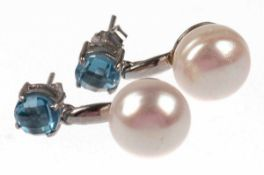 Ohrstecker, 925er Silber, große SW-Perlen Dm. ca. 13,5 mm, Blautopase ca. 7 mm, Abhängungmit