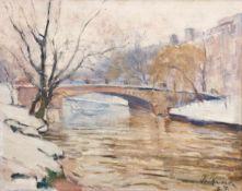 """Volkwarth, Hugo (1888 Altona-1946 Thüringen) """"Winterliche Landschaft mit Brücke über demFluß"""", Öl/"""