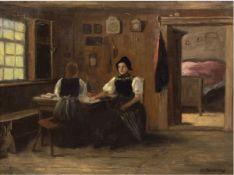 "Reuleaux, A. (19. Jh.) ""In der Bauernstube"", Öl/Lw., sign. u.r., 48x63 cm, Rahmen"