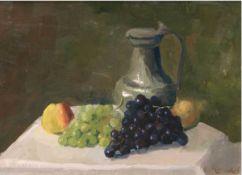 """Stillebenmaler des 20. Jh. """"Früchtestilleben mit Krug"""", Öl/Lw., undeutlich sign. u.r.,40x54 cm,"""