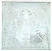 Lalique-Glasobjekt, mit reliefierter Darstellung einer Meerjungfrau, quadratische Form,