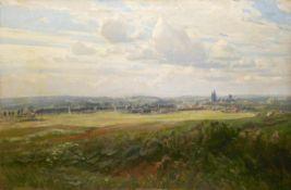 """Holz, Albert (1884 Düsseldorf-1954 Düsseldorf) """"Panoramablick über weite Felder auf eineStadt"""", Öl/"""