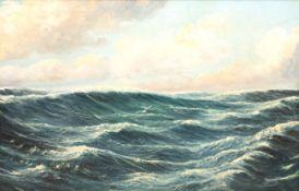 """Bewegtes Meer"", Öl/Lw., undeutl. sign. u.l., 54x80 cm, Rahmen"