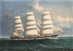 """Großes Kapitänsbild """"Dreimaster auf ruhiger See"""", 19. Jh., Öl/Holzplatte, unsign., kl.Farbabpl.,"""