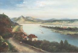 """Geller, J. (Anfang 20. Jh.) """"Rheinlandschaft"""", Öl/Lw., signiert und datiert '27, Farbabpl.o.m.,"""