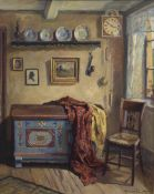 """Reuter, Werner (1902-1962) """"Bauernstube"""", Öl/Lw.,sign. u.r., 48x62 cm, Rahmen"""