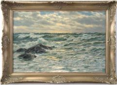 """Kalckreuth, Patrick von (1892 Starnberg-1970 München) """"Felsen in der Meeresbrandung"""",Öl/Lw., sign."""