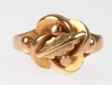 Art-Deco-Ring, 585er GG, abstrahiert floral gestalteter Ringkopf, Juweliersarbeit, 5,6 g,RG 61