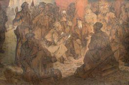 """Russischer Meister (frühes 20. Jh.) """"Lenin im Kreise seiner Kampfgefährten"""", Öl/Lw.,unsign.,"""