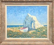 """Blick aufs Meer"", Öl/Mp., undeutl. sign. u.r., 46x55 cm, Rahmen"