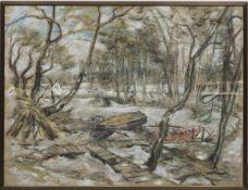 """Malskat, Lothar (1912 Königsberg-1988 Lübeck) """"Winterliche Insel im Deepenmoor"""", Pastell,sign. u."""