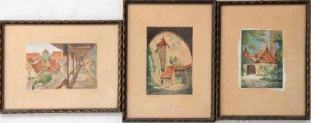 """Konv. 3 Aquarelle, Fiebiger, A., """"Burgansicht"""", 9,5x6,5 cm, """"Im Laubengang"""", 6x9,5 cm, u.""""Konv. 3"""