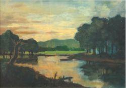 """Maler des 20. Jh. """"Flußlandschaft"""", Öl/HF., unsigniert, 29x38,5 cm, Rahmen"""