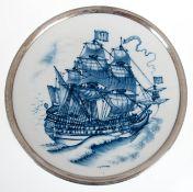 """Meissen-Wandteller """"Segelschiff"""", Blaudekor mit Silberrand, Dm. 25,5 cm"""