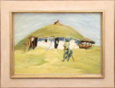 """Sommertag vor der Hütte"", Öl/Lw., unsign., um 1920, 40x60 cm, aufwendig gerahmt mitBlattvergoldung"