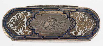 Tabatiere, Frankreich um 1860, 950er Silber, punziert, ca. 113 g, fein floral ziseliert,z.T.