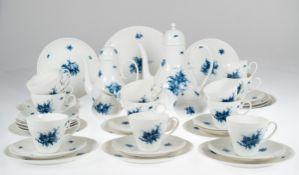 Kaffeeservice, 1950er Jahre, Rosenthal, Romanze in Blau, bestehend aus 13 Tassen, 12 UT,12