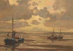 """Fasse """"Fischerboote auf ruhiger See in der Abendsonne"""", Öl/Hartfaser, sign. u.r., 58x77,5cm, Rahmen"""