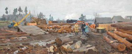 """Safonov """"Holzhandel an der Eisenbahnstation"""", Öl/Lw., verso sign. und bez., 44x97 cm,Rahmen"""