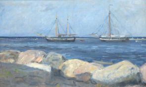 """Maler 19.Jh. """"Segelschiffe vor der Küste"""", Öl/Lw., unsign., 40x63 cm, Rahmen BerlinerLeiste"""