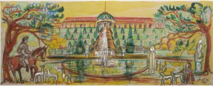 """Lemke-Wilk, Anneliese (1921 Blumenau/Brasilien) """"Sanssouci"""", Seidenmalerei, signiert unddatiert 1991"""