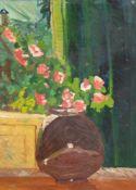 """Hermann, Susanne """"Blumenstrauß in Vase"""", Öl/Karton, rückseitig bez., 40x27 cm, Rahmen"""