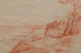 """Andraé, Elisabeth (1876-1945) """"Küstenlandschaft von Rügen"""", Rötelzeichnung, sign u.r.,20x29 cm,"""