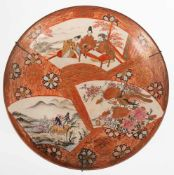 Teller, China, signiert, Landschafts-, Personen- Floral- und Vogelmalerei mit Goldstaffageauf