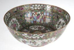 Schale, Porzellan, Dekor Familie Rose, China, figural und floral bemalt sowie partiellgoldstaffiert,