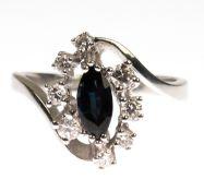 Ring, 585er WG, besetzt mit 1 Saphir im Navetteschliff in kräftigem Mitternachtsblau vonca. 1,17 ct.