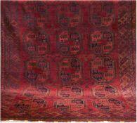Ersari, Afghanistan, rotgrundig mit durchgehendem Muster, 1 Kante beschädigt, 280x210 cm