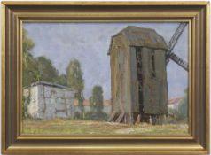 """Pflugradt, Franz (1861 Peenwerder/Demmin-1946 Zingst) """"Bockmühle bei Stralsund"""", Öl/Mp.,rücks. sign."""