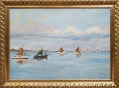 "Berg, K. ""Segelschiffe auf ruhiger See"". Öl/Lw., sign. u.r., 70x99 cm, Rahmen"