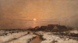 """Windmaier, Anton (1840 Pfarrkirchen-1896 München) """"Winterliche Dorflandschaft mitPersonenstaffage im"""