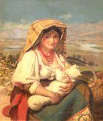 """Rosenstand, Vilhelm Jakob (1838- 1915) """"Junge Italienerin am Wegesrand sitzend und ihrKind"""