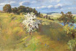 """Hennig, Erich (1875-1946) """"Weißdornblüte in Küstenlandschaft"""", Öl/Lw., sign. u.r. 50x72cm, Rahmen"""
