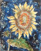 """Wandplatte """"Sonnenblume"""", Karlsruher Keramik, gemarkt, Entwurf Werner Meschede aus derSerie"""